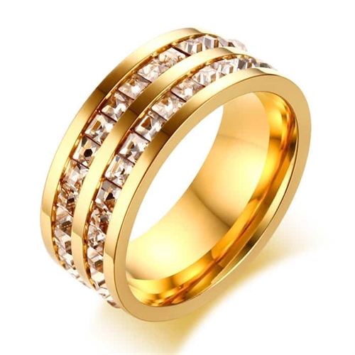 Gold Bright ring med CZ