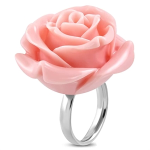 Lyserød cocktail rose - fashion ring